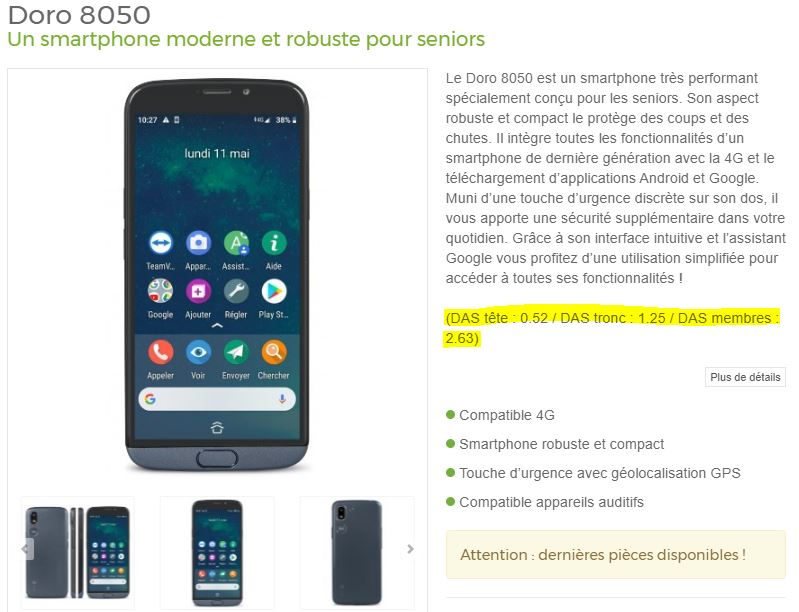 Doro 8050 - DAS téléphone mobile seniors - Bazile Telecom
